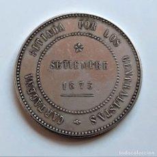 Reproduções notas e moedas: 1873 MONEDA 5 PESETAS CANTONALES DE LA REVOLUCION DE ESPAÑA - 36.MM DIAMETRO - 23,35.GRAMOS APROX. Lote 266408703