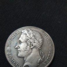 Reproduções notas e moedas: MONEDA 5 FRANCS LEOPOLDO PREMIER 1838 BELGICA. Lote 266980029