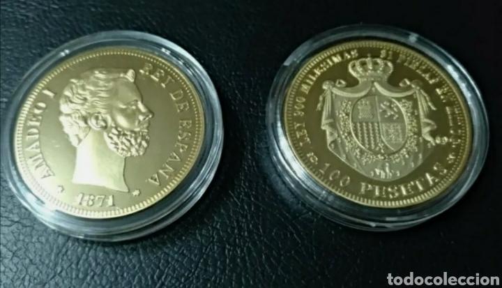 MONEDA DE ORO 24KT AMADEO 1 1871 100 PESETAS (Numismática - Reproducciones)