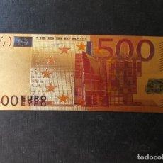 Reproducciones billetes y monedas: BILLETE EN BAÑO DE ORO 500 EUROS. Lote 267497234