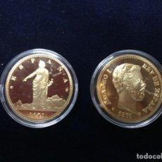 Reproduções notas e moedas: DOS MONEDAS - 100 PESETAS 1870 Y 1871. Lote 267525919