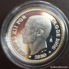 Reproducciones billetes y monedas: MONEDA 50 CENTIMOS 1880 ALFONSO XII CERTIFICADA FNMT 6,72 GR. PLATA 925/1000. Lote 267770979