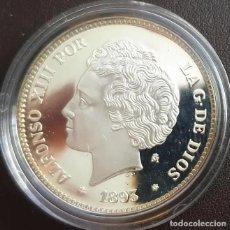 Reproducciones billetes y monedas: MONEDA 1 PESETA 1893 ALFONSO XIII CERTIFICADA FNMT 13,50 GR. PLATA 925/1000. Lote 267774439