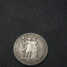 Reproducciones billetes y monedas: MONEDA 1 LIRA REPÚBLICA LTALIANA DE GÉNOVA 1798. Lote 268474944