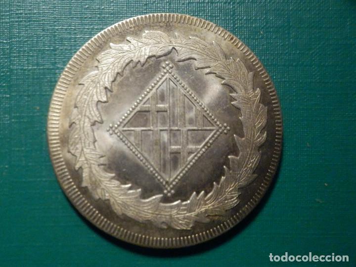 Reproducciones billetes y monedas: 5 PESETAS BARCELONA 1811 NAPOLEON - Reprodución - Baño plata - Foto 2 - 268978414