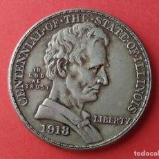 Reproducciones billetes y monedas: MONEDA DE MEDIO DOLAR USA DE 1918. CENTENARIO DEL ESTADO DE ILLINOIS. REPRODUCCIÓN. Lote 269620433