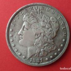 Reproducciones billetes y monedas: MONEDA DE 1 DOLAR MORGAN USA DE 1881. REPRODUCCIÓN. Lote 269624468