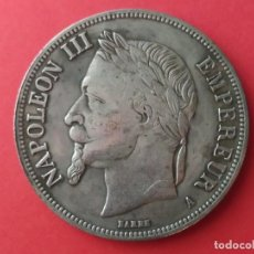 Reproducciones billetes y monedas: MONEDA DE 5 FRANCOS DE NAPOLEÓN III 1867. REPRODUCCIÓN. Lote 269718858