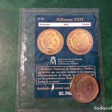 Reproducciones billetes y monedas: DEL REAL A LA PESETA, EL PAIS.N°1. 20 PESETAS DE 1892. ALFONSO XIII. BAÑADA EN ORO. REAL CASA MONEDA. Lote 270554928
