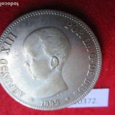 Reproducciones billetes y monedas: REPRODUCCIÓN MODERNA 5 PESETAS ALFONSO XIII, 13, 1892, FALSA. Lote 274286238