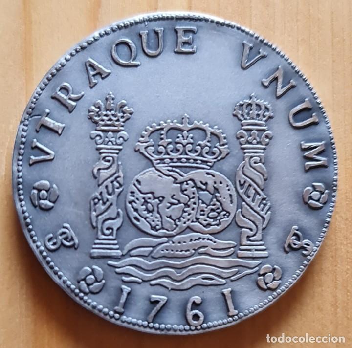 COLUMNARIO 8 REALES 1761 POTOSÍ, 40.8 GRAMOS DE PLATA DE LEY, CONMEMORATIVA ICEX, EXPOTECNIA 93. (Numismática - Reproducciones)