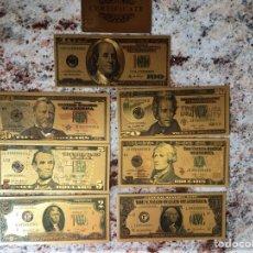 Reproducciones billetes y monedas: COLECCIÓN DE BILLETES DE DÓLAR DE ORO 24 KT 999,9 PUREZA CON CERTIFICADO DE AUTENTICIDAD. Lote 277725963
