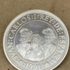 Reproducciones billetes y monedas: MONEDA DE PLATA CONMEMORATIVA 2000 PESETAS 1991. Lote 278351493