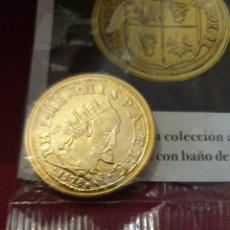 Reproducciones billetes y monedas: MONEDA FELIPE LL DOBLE DUCADO 1578 MILÁN ACUÑADO EN METAL CON BAÑO DE ORO PURO. Lote 282997178