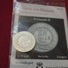Reproducciones billetes y monedas: MONEDA 1/2 REAL FERNANDO LL SIN FECHA ZARAGOZA ACUÑADA EN METAL CON BAÑO PLATA PURA. Lote 283117193