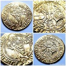 Reproducciones billetes y monedas: ⚜️ BAÑO DE ORO. GOLDGULDEN DE ALBERT DE BRANDEMBURGO [1471/1486]. 3,6G/23MM. IMITATIVA. 01B1. Lote 284144123