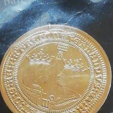 Reproducciones billetes y monedas: LAS MONEDAS DE ESPAÑA.. CON BAÑO DE ORO PURO.. REAL CASA DE LA MONEDA. FNMT. REYES CATÓLICOS.. Lote 286292508