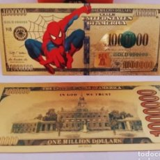 Reproductions billets et monnaies: EXCLUSIVO BILLETE DE COLLECCION DE SPIDERMAN 99,9% ORO 24 K CON CERTIFICADO DE AUTENTICIDAD. Lote 286297518
