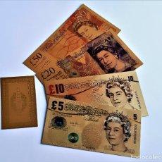 Reproductions billets et monnaies: REINO UNIDO 4 BILLETES 5-10-20-50 LIBRAS A COLOR 99.9% PURO ORO 24K.+CERTIFICADO AUTENTICIDAD NUEVOS. Lote 286987478