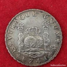 Reproductions billets et monnaies: MONEDA PLATA COLUMNARIO FELIPE V 8 REALES 1741 MEXICO OJO REPLICA EN PLATA PESA 26,50 GRAMOS C8. Lote 287731783