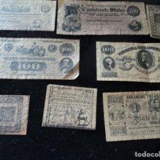 Reproducciones billetes y monedas: 8 CURIOSAS REPRODUCCIONES CONFEDERATE STATES OF AMERICA , ARKANSAS, MISSISSIPPI, SOUTH CAROLINA. Lote 288529238
