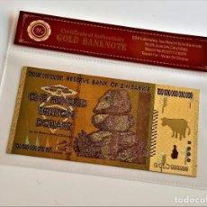 Reproducciones billetes y monedas: ZIMBABWE ONE HUNDRED TRILLION DOLLARS 100 000 000 000 000 GOLD BILLETE ORO BAÑADO COLOR CERTIFICAD. Lote 288941938