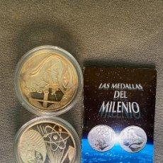 Reproducciones billetes y monedas: DOS MEDALLAS DE PLATA 999 , LAS MEDALLAS DEL MILENIO , DE ACUÑACIONES IBERICAS ,. Lote 289819108