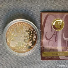 Reproducciones billetes y monedas: MEDALLA DE PLATA 999 , UNION EUROPEA MONEDA UNICA , DE ACUÑACIONES IBERICAS ,. Lote 289821738