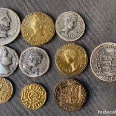 Reproducciones billetes y monedas: 10 MEDALLAS DE PLATA 999 , MONEDAS HISPANICAS , DE ACUÑACIONES IBERICAS ,. Lote 289822358