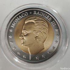 Reproducciones billetes y monedas: MONEDA DE 2 EUROS DE PRUEBA MÓNACO PRINCIPE RAINIERO III. Lote 293746473