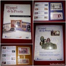 Reproducciones billetes y monedas: ALBUM EL PAPEL DE LA PESETA I Y II COMPLETOS ( SELECCIÓN 80 BILLETES HISTÓRICOS) EL PAIS 2002. Lote 296627883