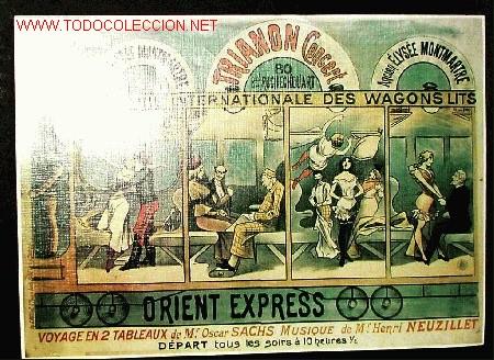 FERROCARRIL ORIENT EXPRESS. WAGONS-LITS (REPRODUCCIÓN CARTEL COMPAGNIE INTERNATIONALE DES...) (Coleccionismo - Reproducciones de carteles)