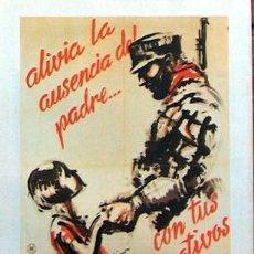 Collezionismo di affissi: REPRODUCCION CARTEL GUERRA CIVIL 68, ALIVIA LA AUSENCIA DEL PADRE CON TUS DONATIVOS, SIM CNT UGT. Lote 235145560