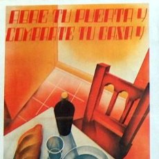 Collezionismo di affissi: REPRODUCCION CARTEL GUERRA CIVIL 107, ABRE TU PUERTA Y COMPARTE TU CASA, CARTELISTAS CNT. Lote 17559247