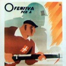 Coleccionismo de carteles: REPRODUCCION CARTEL GUERRA CIVIL 52, OFENSIVA PER A EUZKADI. Lote 17561331