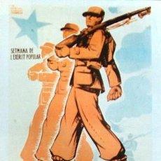 Coleccionismo de carteles: REPRODUCCION CARTEL GUERRA CIVIL 57, VISCA L'EXERXIT POPULAR, ALUMÁ. Lote 17561445