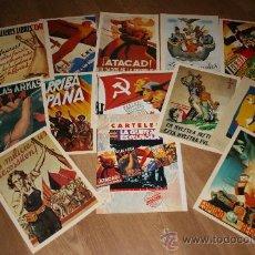 Coleccionismo de carteles: 12 REPRODUCCIONES DE CARTELES DE LA GUERRA CIVIL. CARPETA DOCUMENTOS INTERVIU. MIDEN 29 POR 21 CMS.. Lote 27476756