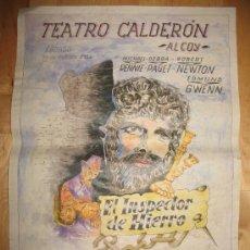 Coleccionismo de carteles: CARTEL DE CINE - DIN-A3 - EL INSPECTOR DE HIERRO - - TEATRO CALDERÓN - ALCOY. Lote 23489525