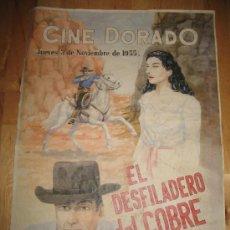 Coleccionismo de carteles: CARTEL DE CINE - DIN-A3 - EL DESFILADERO DEL COBRE - - CINE DORADO. Lote 23490156