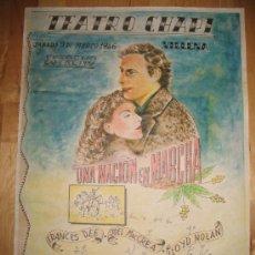 Coleccionismo de carteles: CARTEL DE CINE - DIN-A3 - UNA NACIÓN EN MARCHA - - TEATRO CHAPI - VILLENA. Lote 23490268