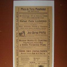 Coleccionismo de carteles: PLAZA DE TOROS MONUMENTAL DE SEVILLA 1920 REPRODUCCION CARTEL. Lote 37368304