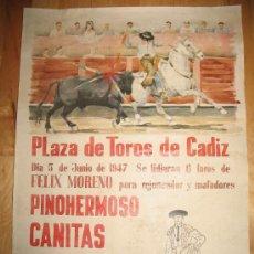 Coleccionismo de carteles: CARTEL DIN-A3 - CORRIDAS DE TOROS - PINOHERMOSO - CANITAS - ANDALUZ - ROVIRA - - CADIZ. Lote 32369218