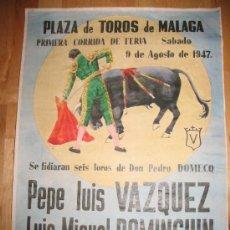 Coleccionismo de carteles: CARTEL DIN-A3 - CORRIDAS DE TOROS - VAZQUEZ - DOMINGUIN - ROVIRA - - MALAGA. Lote 32369315