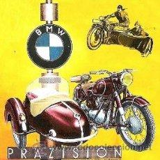 Coleccionismo de carteles: CUADRO CARTEL ALEMAN DE MOTO CON SIDECAR BMW. REPRODUCCION EN MADERA 60X60 CM. . Lote 32804032
