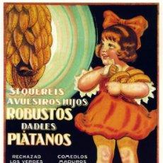 Coleccionismo de carteles: CUADRO CARTEL PUBLICIDAD PLATANOS DE CANARIAS. REPRODUCCION EN MADERA 50X35 CM. . Lote 109794130