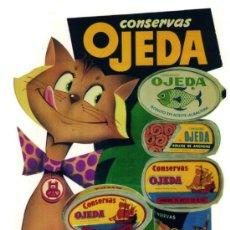 Coleccionismo de carteles: CUADRO CARTEL PUBLICIDAD ULTRAMARINOS CONSERVAS OJEDA. REPRODUCCION EN MADERA 50X35 CM. . Lote 32802977
