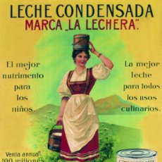 Coleccionismo de carteles: CUADRO CARTEL PUBLICIDAD ULTRAMARINOS LECHE CONDENSADA LA LECHERA REPRODUCCION EN MADERA 70X50 CM.. Lote 146444458