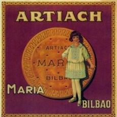 Coleccionismo de carteles: CUADRO CARTEL PUBLICIDAD DE GALLETAS MARIA ARTIACH DE BILBAO. REPRODUCCION EN MADERA 50X70 CM. . Lote 32803832