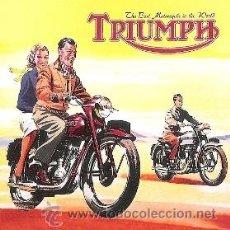Coleccionismo de carteles: CUADRO CARTEL ANTIGUO MOTO TRIUMPH. REPRODUCCION EN MADERA 40X40 CM. . Lote 154499854