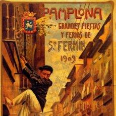 Coleccionismo de carteles: CUADRO CARTEL (EN MADERA): SAN FERMIN: FIESTAS DE PAMPLONA AÑO 1909. REPRODUCCION. 100X50 CM. Lote 32807049